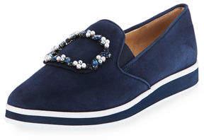 Karl Lagerfeld Paris Kalana Embellished Velvet Slip-On Sneaker