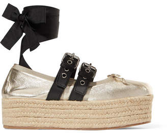 Miu Miu Metallic Leather Platform Espadrilles - Gold