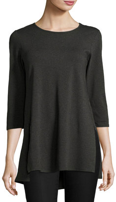 Joan Vass 3/4-Sleeve High-Low Top, Heather Gray $45 thestylecure.com