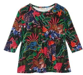 Kenzo Graphic Print Velvet Fit & Flare Dress