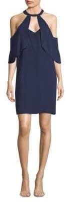 BCBGMAXAZRIA Ruffle Cold-Shoulder Shift Dress