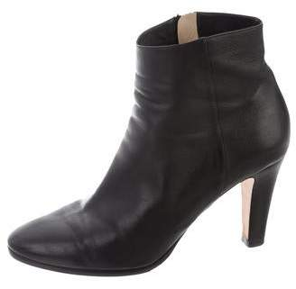 Jimmy Choo Leather Round-Toe Ankle Boots