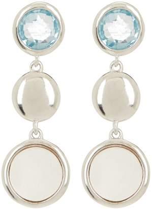 Candela Sterling Silver Blue Topaz & 6mm Mother of Pearl Dangle Earrings