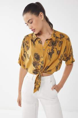 Urban Outfitters Jena Printed Tie-Front Blouse