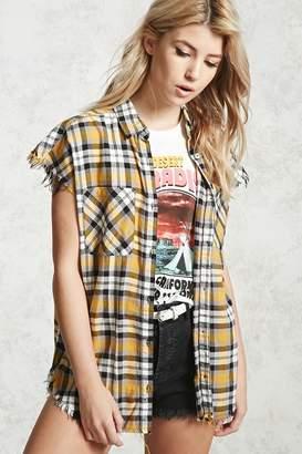 Forever 21 Frayed Plaid Shirt