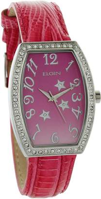 Elgin Women's Stome Case Dial With Stars & Leather Strap EG208
