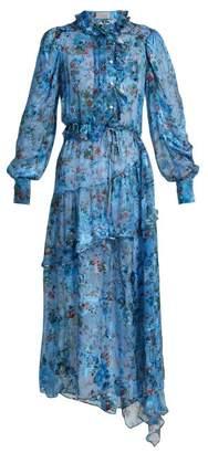 Preen by Thornton Bregazzi Lotty Silk Blend Devore Satin Dress - Womens - Blue Multi