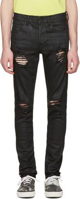 Off-White Black Slim Rips Diagonal Jeans $720 thestylecure.com