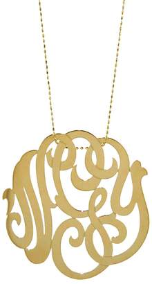 ginette_ny Large Lace Monogram Necklace - Yellow Gold