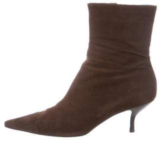 Chanel Corduroy Pointed-Toe Ankle Boots