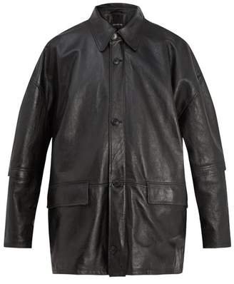 Balenciaga Oversized Leather Jacket - Mens - Black