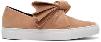 Cédric Charlier Pink Corduroy Bow Slip-On Sneakers
