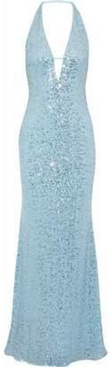 Badgley Mischka Cutout Sequined Mesh Halterneck Gown