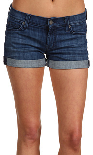 7 For All Mankind  Roll Up Short in Washed Pure Indigo
