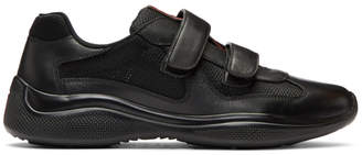 Prada Black Mesh and Leather Velcro Sneakers