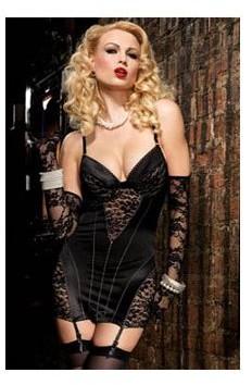 Leg Avenue Satin Underwire Dress 86515LEG Black