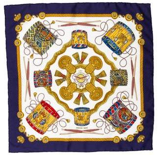 Hermes Les Tambours Silk Pocket Square