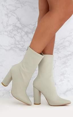 PrettyLittleThing Addie Light Grey Neoprene Pointed Sock Boots