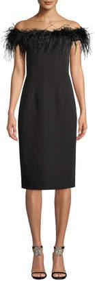 Milly Elle Feather Boat-Neck Sleeveless Italian Cady Sheath Dress