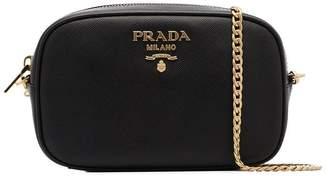 Prada black small chain strap leather belt bag