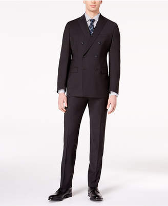 Michael Kors CLOSEOUT! Men's Classic-Fit Black Textured Stripe Double-Breasted Suit