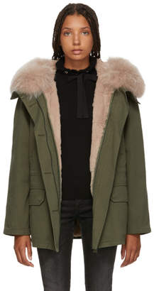 Yves Salomon Army Green and Pink Classic Short Fur-Lined Parka