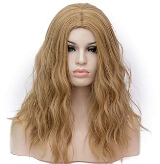 Forever 21 Amback Medium Length Cosplay Lolita Halloween Wig for Women Curly Wave Wigs Hair Plus Wig Cap/Gold Brown