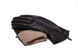 Moda Women's Ms. Tokyo Genuine Leather Wool Lined Gathererd Zip Winter Gloves