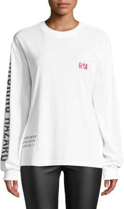 "RtA Cruz ""Not a Toy"" Long-Sleeve Cotton Logo Tee"