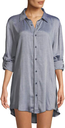 Onia Marie Striped Button-Front Coverup Tunic