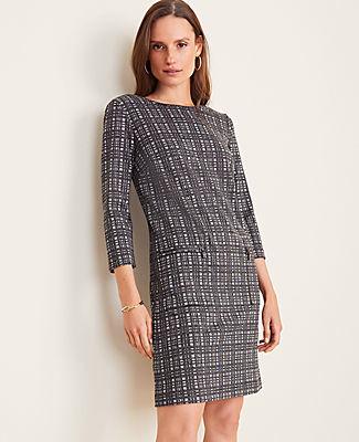 Ann Taylor Petite Windowpane Zip Pocket Shift Dress