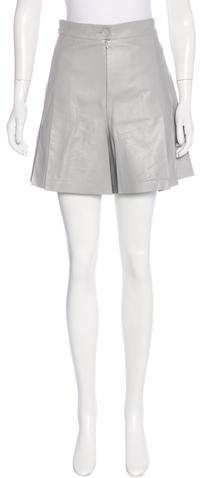 Chanel Leather Pleated Shorts
