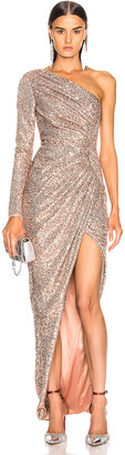 Rasario One Shoulder Draped Sequin Gown in Gold | FWRD
