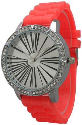 OLIVIA PRATT Olivia Pratt Womens Rhinestone Bezel Roman Numeral Dial Coral Silicon Watch 20369Coral