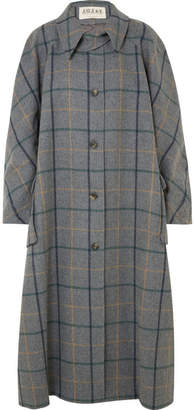 Awake Oversized Checked Wool-blend Coat - Anthracite