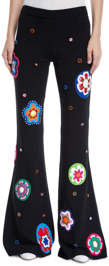 Moschino Flower-Patch Flare Leg Pants