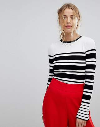 Miss Selfridge Striped Fluted Sleeve Jumper