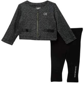 Calvin Klein Jacket, Top, & Legging Set (Baby Girls)