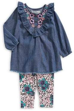Jessica Simpson Baby Girl's Two-Piece Embroidered Cotton Top Printed Leggings Set