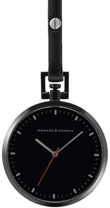 LEONARD AND CHURCH Leonard & Church Prospect Leather Strap Pocket Watch, 48mm