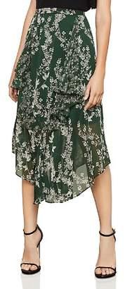 BCBGMAXAZRIA Botanical Print Asymmetric Skirt