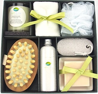 Earth & Sea Spa Essentials Bath Set-Soy Wax Candle, Cotton Bath Cloth, Exfoliating Sponge, Pumice Stone, Wooden Massager Brush, Salts, Bath Soap-Green Gift Set $34.95 thestylecure.com