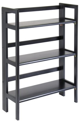 Winsome Wood 20896 3 Tier Black Stackable Folding Book Shelf