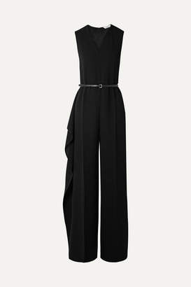Max Mara Belted Ruffled Crepe Jumpsuit - Black