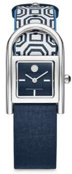 Tory Burch Thayer Stainless Steel Leather Strap Watch