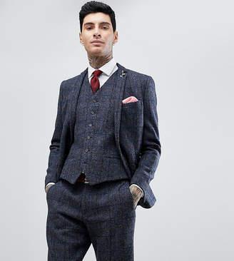 Heart & Dagger Slim Suit Jacket In Harris Tweed In Check