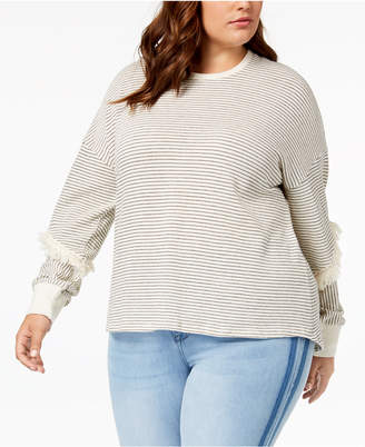 Eyeshadow Trendy Plus Size Fringe-Trim Top