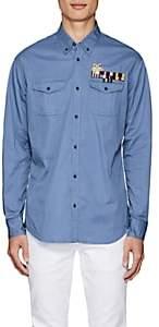 DSQUARED2 Men's Embellished Cotton Twill Shirt-Blue Size 46 Eu