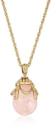 1928 Jewelry 14k Gold-Dipped Semi-Precious Rose Quartz Egg Pendant Necklace