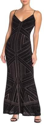 Jump V-Neck Glitter Slinky Gown